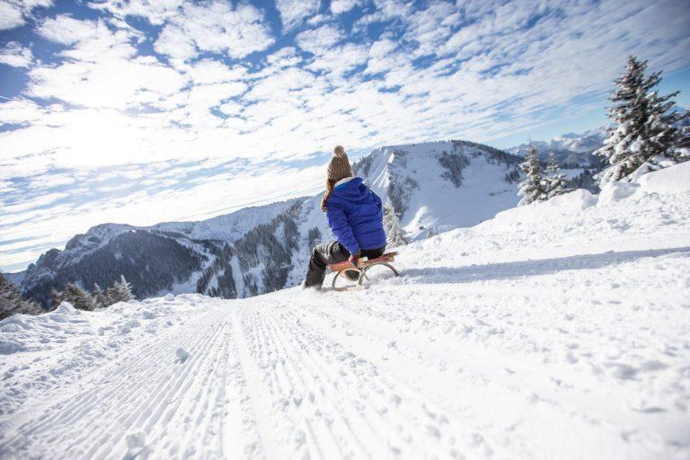Schlittenfahren Winterspass Relais Chalet Wilhelmy am Tegernsee